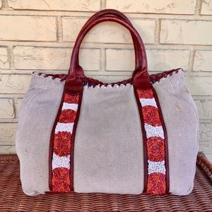 Holding Horses Beaded Canvas & Leather Tote Bag
